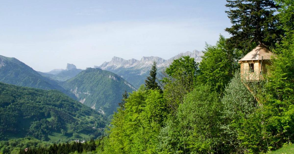 Boomhut in de Franse alpen