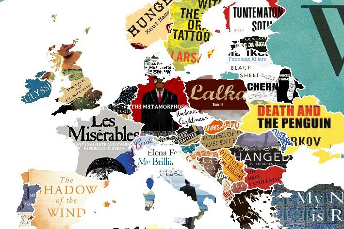 Deze wereldkaart laat van elk land het populairste boek zien